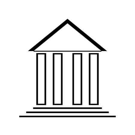 Bank icon on white background. Vector illustration.