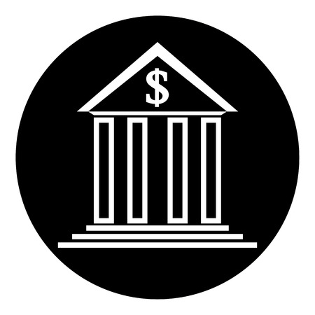 depository: Bank symbol button on white background. Vector illustration. Illustration