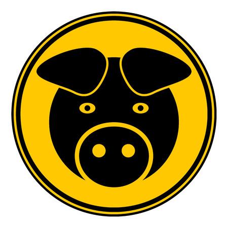 barnyard: Pig symbol button on white background. Vector illustration.