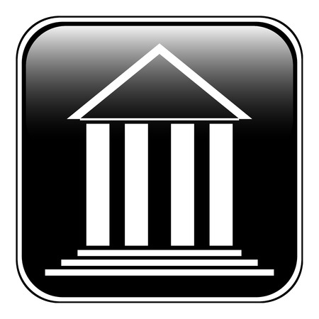 roman column: Bank symbol button on white background
