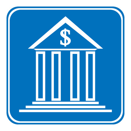 depository: Bank symbol button on white background