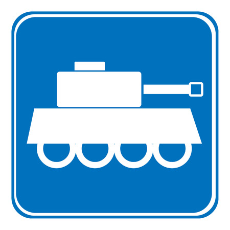 turret: Panzer symbol button on white background. Vector illustration. Illustration