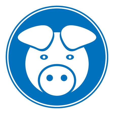 pig tails: Pig symbol button on white background Illustration