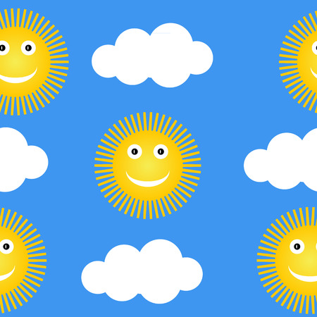 suns: Seamless pattern with suns and clouds
