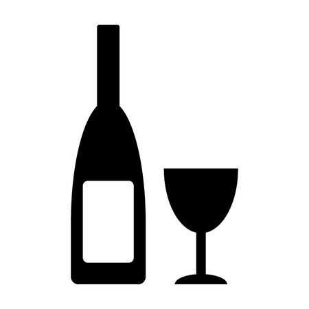 glasse: Bottle and glasse icon on white background.