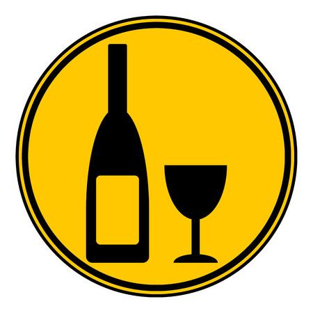 vino: Bottle and glasse icon on white background.