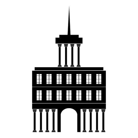 흰색 배경에 - 벡터 일러스트 레이 션 건물 아이콘입니다.