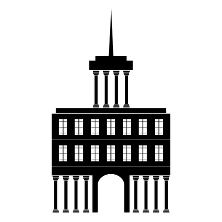 classicism: Building icon on white background - vector illustration. Illustration