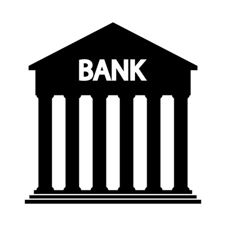 classicism: Bank icon on white background - vector illustration. Illustration