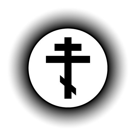 orthodox: Religious orthodox cross button on white background. Vector illustration.