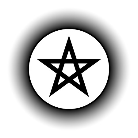 subculture: Pentagram button on white background. Vector illustration. Illustration