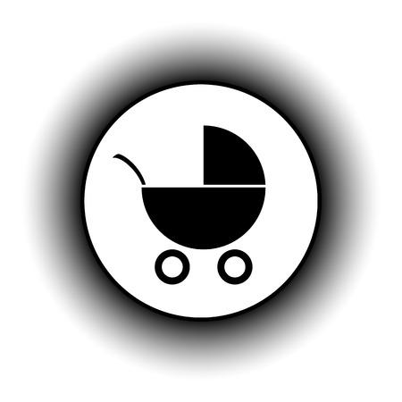 infantile: Pram button on white background. Vector illustration. Illustration