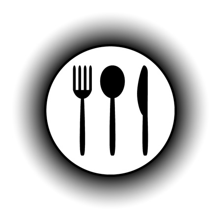 fork and spoon: Fork, spoon and knife button isolated on white background. Illustration