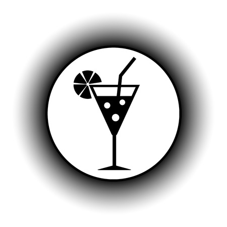 sweet vermouth: Cocktail glass button on white background. Illustration