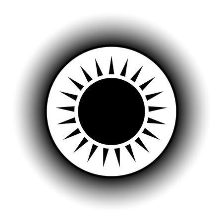 lighting button: Sun button on white background.