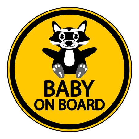 bebe a bordo: Bebé a bordo de signo sobre fondo blanco.