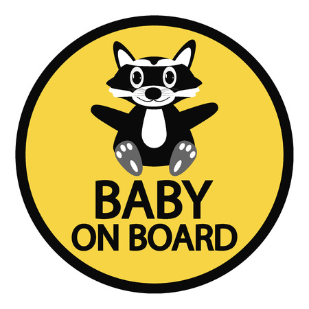 bebe a bordo: Beb� en la Muestra de la tarjeta en el fondo blanco.