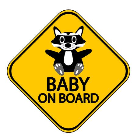 bebe a bordo: Bebé en la Muestra de la tarjeta en el fondo blanco.