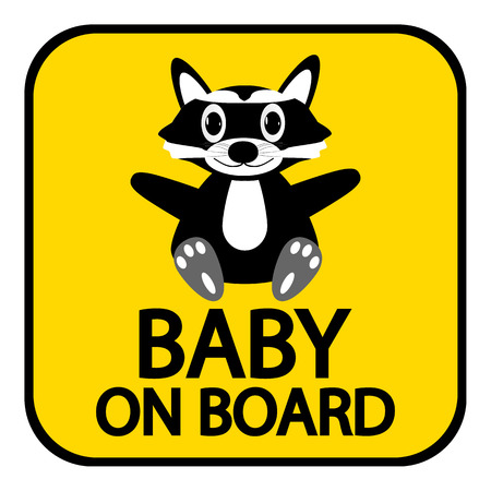 forewarning: Baby on board sign on white background.