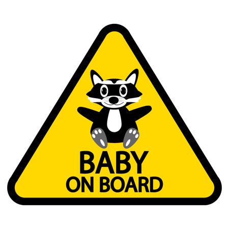 bebe a bordo: Beb� a bordo de signo sobre fondo blanco.