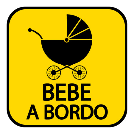 baby on board: Baby on board sign in Spanish on white background.