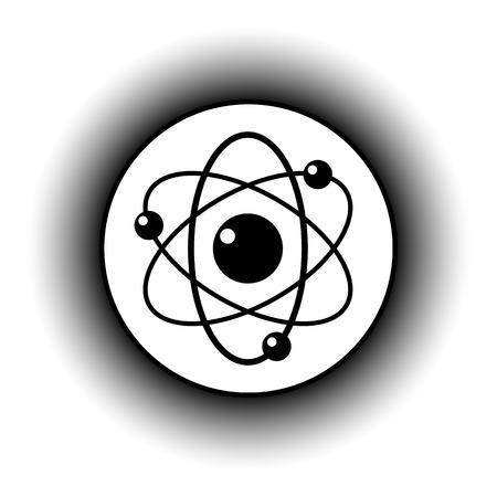 atomic nucleus: Atom button on white background. Vector illustration.