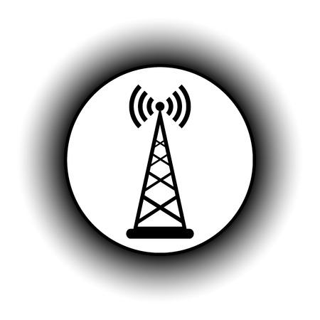 telephone mast: Transmitter button on white background. Vector illustration.