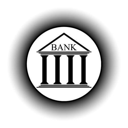 depository: Bank button on white background. Vector illustration.