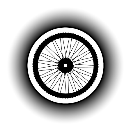 motoring: Bicycle wheel button on white background. Vector illustration. Illustration