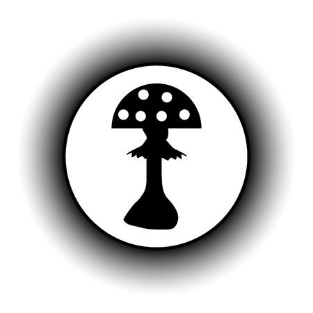 inedible: Amanita button on white background. Vector illustration.