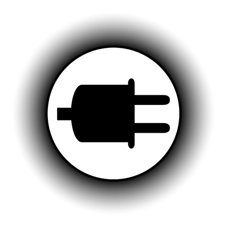 power cord: Power cord sign button on white background.