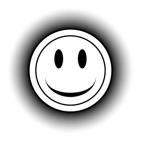 friendliness: Smile face circle button on white background.