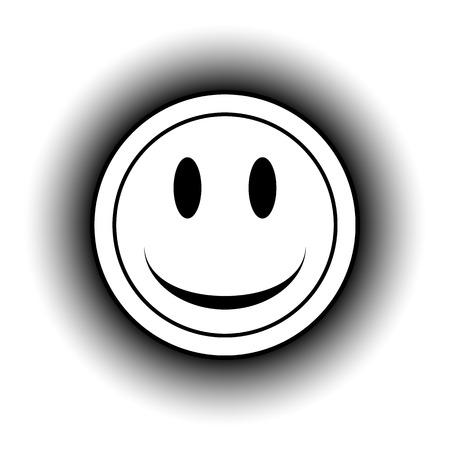 trato amable: Sonrisa cara bot�n c�rculo sobre fondo blanco. Vectores
