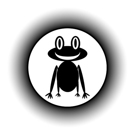 croaking: Frog button on white background.