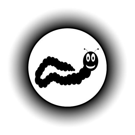 lombriz de tierra: Botón de la lombriz de tierra sobre fondo blanco.