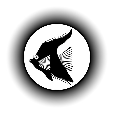 fishy: Tropic fish button on white background.