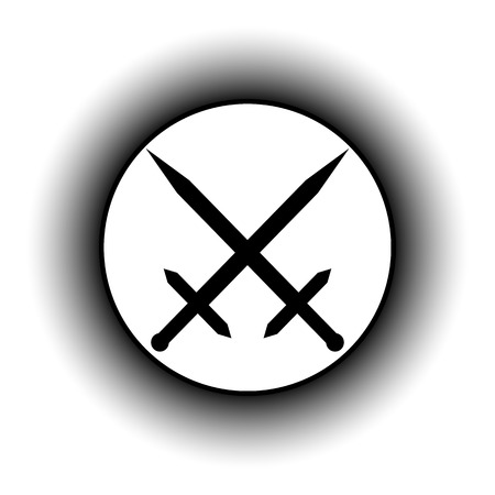 sword fight: Crossed swords button on white background. Illustration