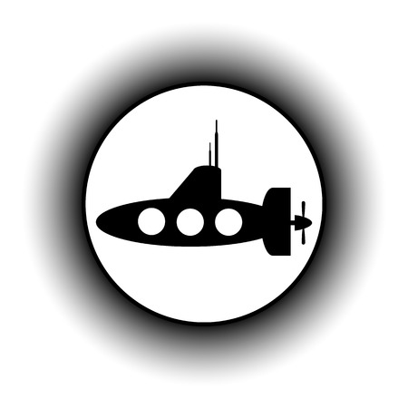 periscope: Submarine icon on white background.