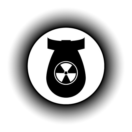 bombing: Bomb button on white background.