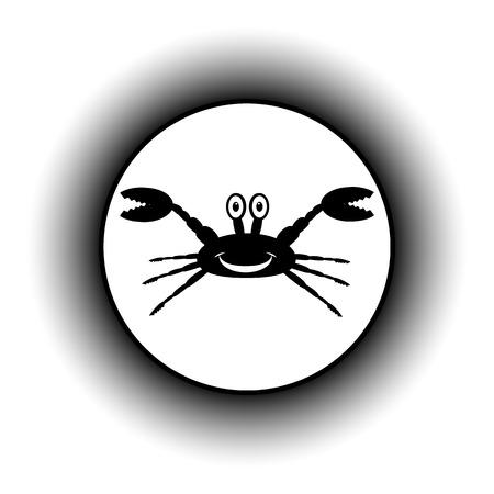 arthropoda: Crab button on white background.