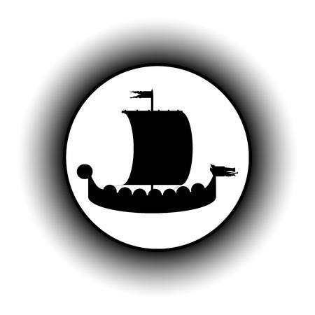 drakkar: Drakkar button on white background. Illustration