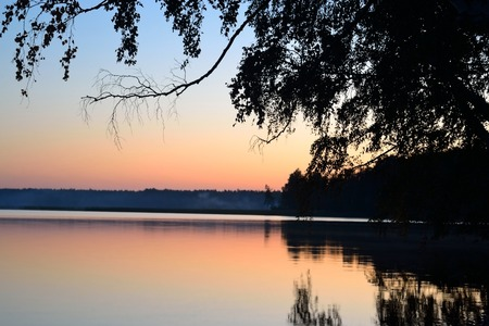 isthmus: Sunset over lake in the Karelian Isthmus, Russia.