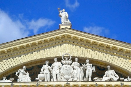 pediment: The pediment with sculptures of Trade Union Palace of Culture in Minsk, Belarus.