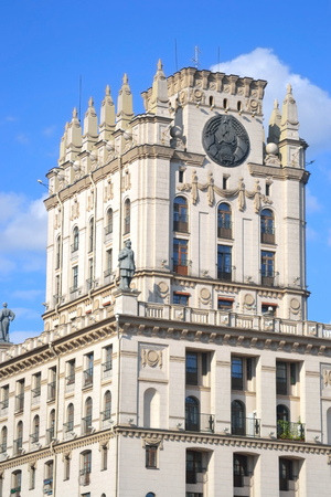 stalin empire style: Tower in the style of Stalins empire on the station square in Minsk, Belarus.
