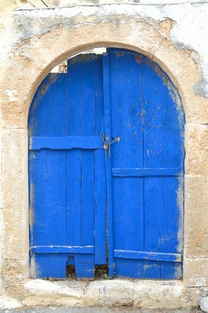 mediterranea: Window of an old building in Malia, Crete, Greece. Stock Photo