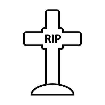 mortal: Gravestone silhouette isolated on white background. Vector illustration.