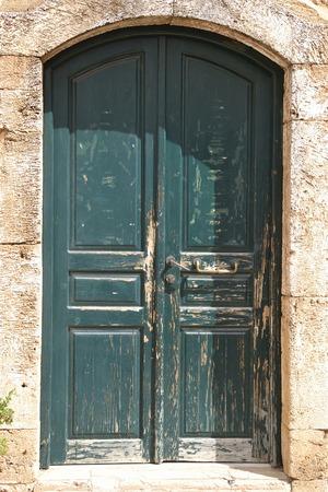 mediterranea: Door of an old building in Malia, Crete, Greece. Stock Photo