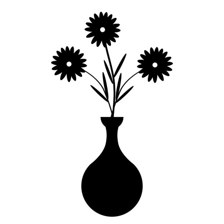 black and white flowers: Vase with flowers on white background. Vector illustration.