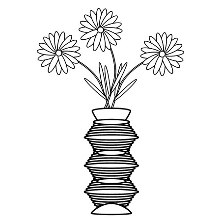 flowers on white: Vase with flowers on white background. Vector illustration.