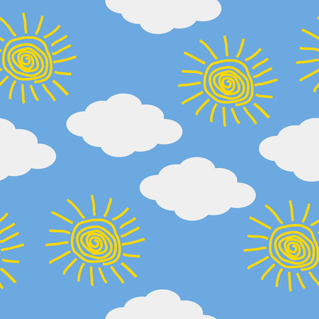 sky sun: Sun and cloud icons on blue sky background. Vector illustration.